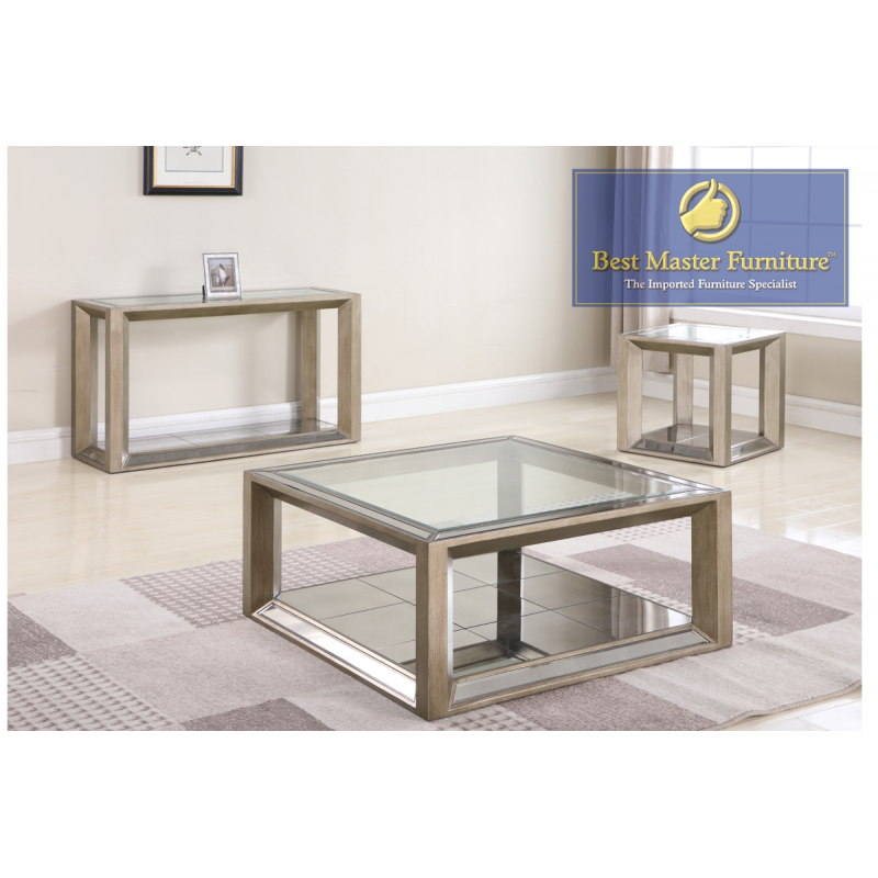 T1900 Mirrored Coffee Table Set Best Master Furniture Coffee Table Sets End Table Color Gold