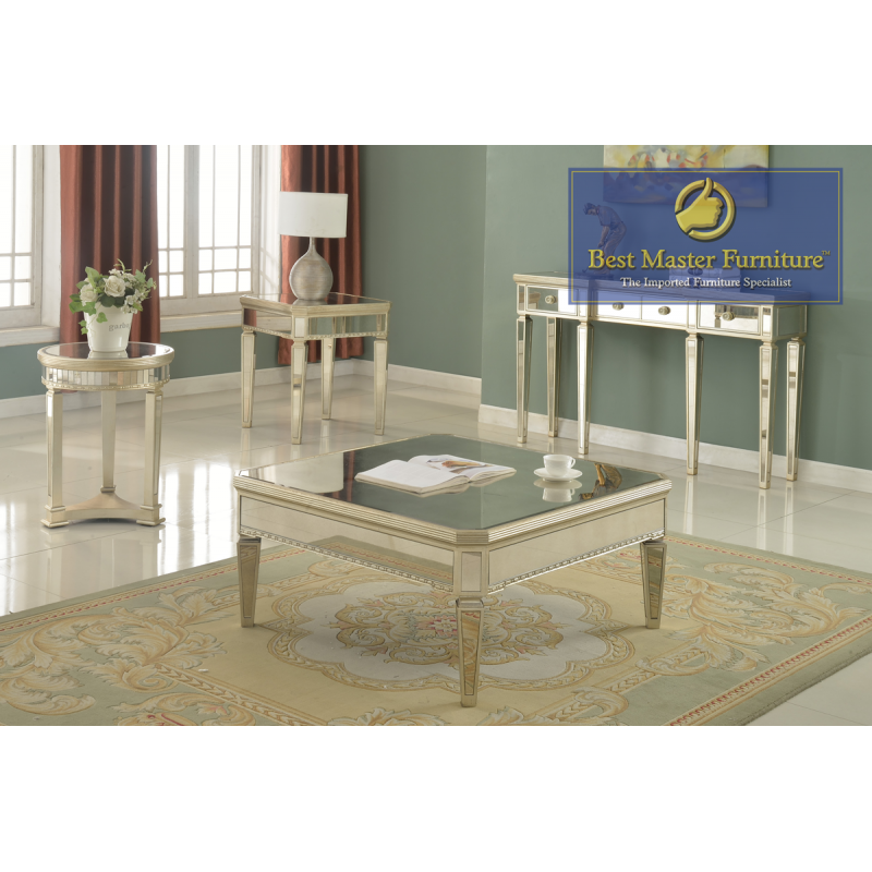 T1830 Mirrored Coffee Table Set Best Master Furniture