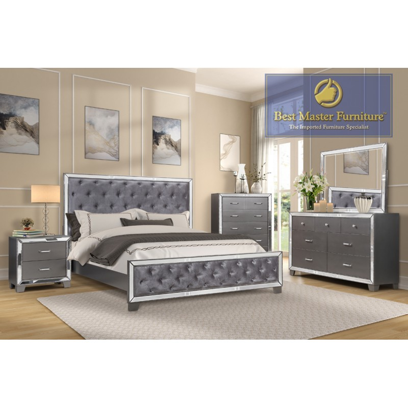 B1004 Mirrored Bedroom Set   Best Master Furniture