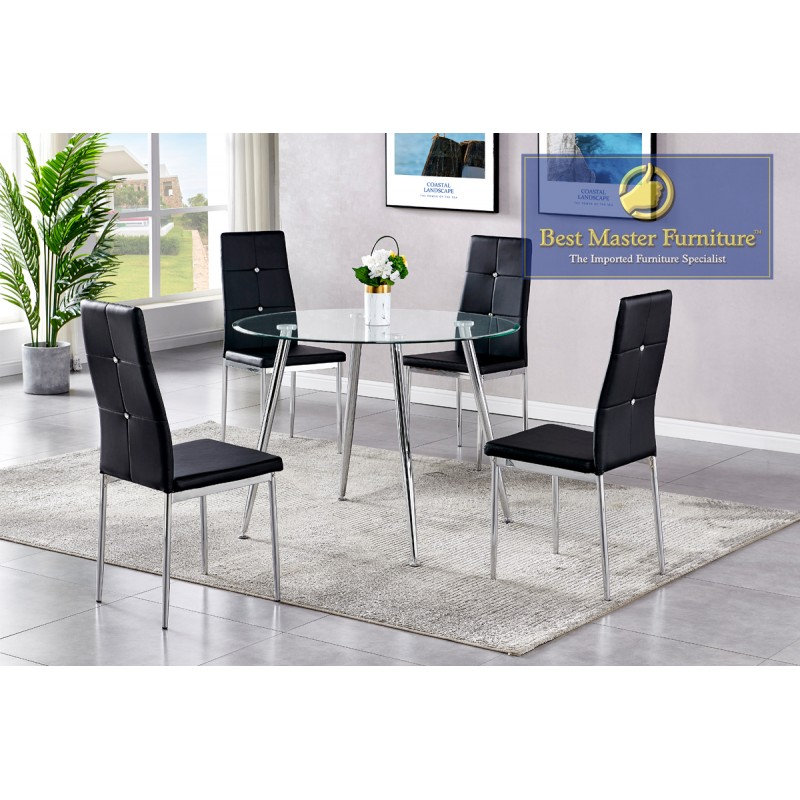 White Best Master Furniture T246 Upholstered Dining Chair