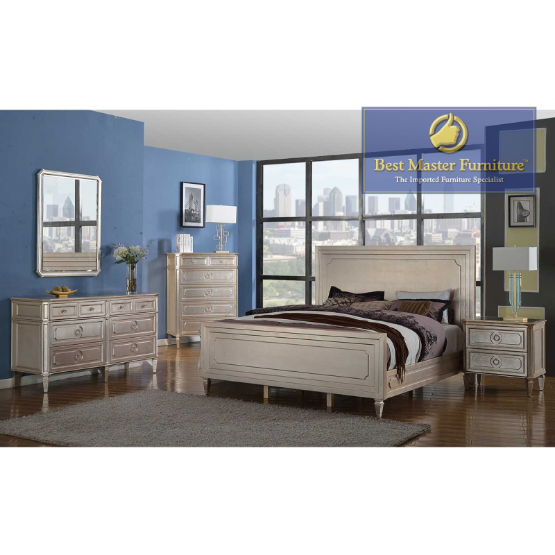 t1810 mirrored bedroom set  best master furniture color